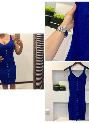 Шикарное синие бандажное платье футляр/утяжка с декольте миди
