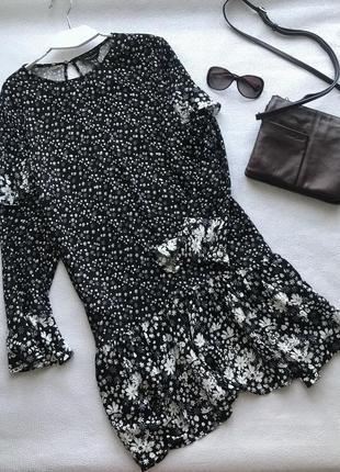 Платье  туника в свободном стиле с длинным рукавом и оборками