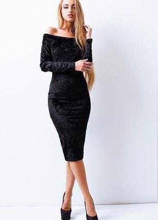 """Черное велюровое платье """"лорнака"""" (285-лб)"""