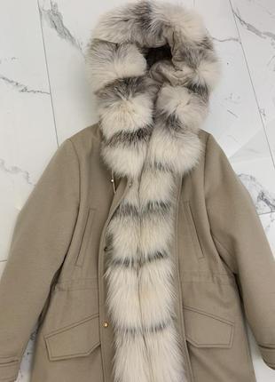 Женская  парка куртка пуховик с натуральным мехом лисы