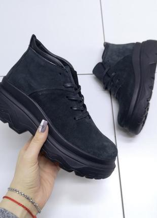 Женские ботинки slava, графит, натуральная замша, деми