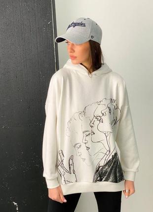 Молочное худи оверсайз с капюшоном двойным стильное кофта с принтом