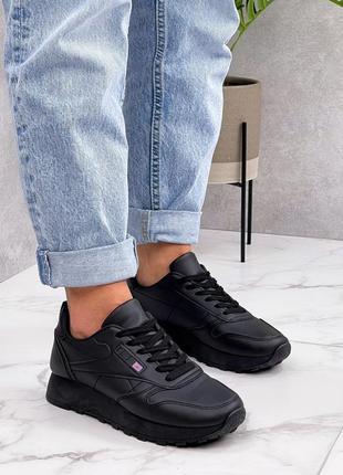 Кроссовки dual, черные, экокожа