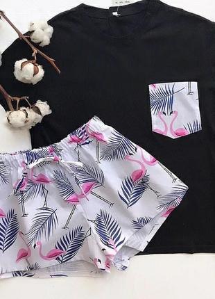Пижама из хлопка футболка и шорты с принтом, піжама2 фото