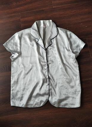 Верх атласной серебристой  пижамы кофточка израиль