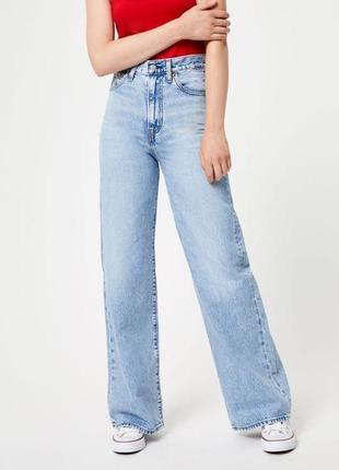 Levi's wide leg оригинал широкие прямые мом джинсы голубые высокая посадка