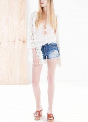 Нереально крутые джинсовые шорты s\m с кружевом по бокам 36\38
