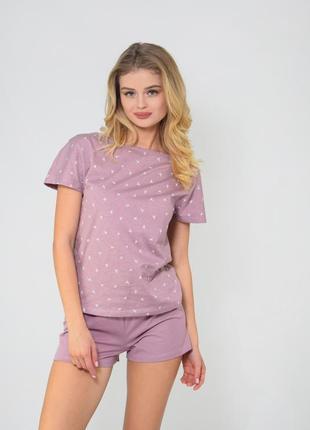 Пудровая пижама футболка + шорты, домашний костюм с принтом ласточки