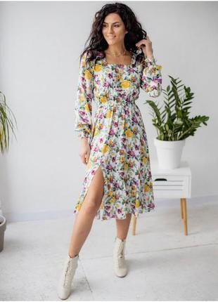 Ефектна красива легка сукня , плаття з розрізом і довгими рукавами