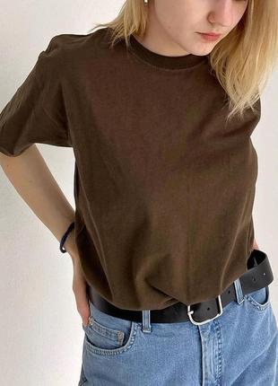Базовая унисекс футболка оверсайз 100% хлопок шоколадная
