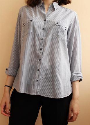 Серая рубашка marks&spencer