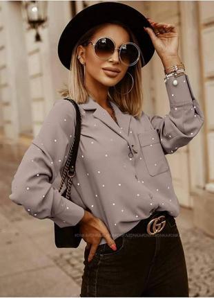 Рубашка женская классическая в горошек на весну лето