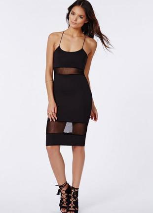 Стильное платье миди со вставками сетки спинка накрест