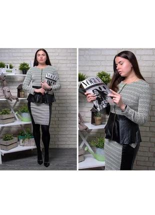 Костюм комплект блуза блузка ковта баска и + юбка со вставками из эко кожи модный