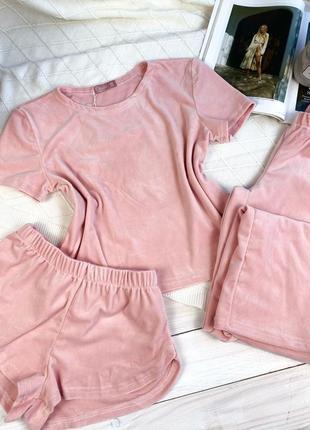 Плюшевая пижама пудра, велюровий домашний костюм, футболка, шорты, штаны