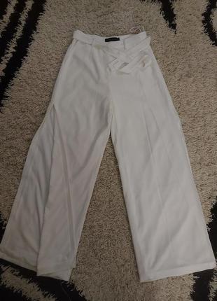 Брюки штаны широкие с разрезами высокая посадка