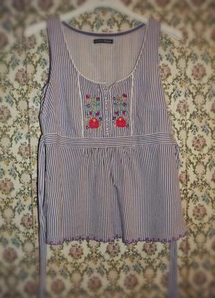 Хлопковая блуза с вышивкой, бренд george
