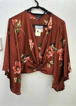 Укороченная шелковая атласная блузка с клешенными рукавами/топ/рубашка/блуза