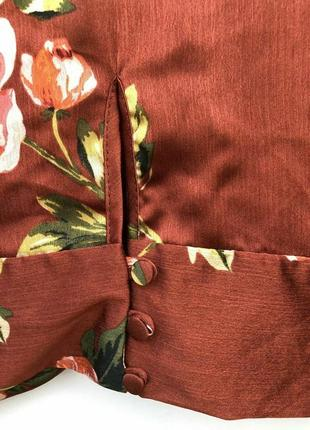 Укороченная шелковая атласная блузка с клешенными рукавами/топ/рубашка/блуза4 фото