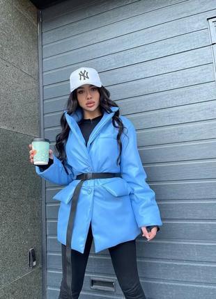 Женский утеплённый пиджак (тренд весны 2021) эко кожа