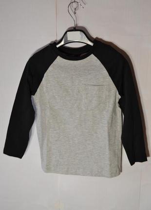 Реглан для мальчика серый хлопковый рукав черный george
