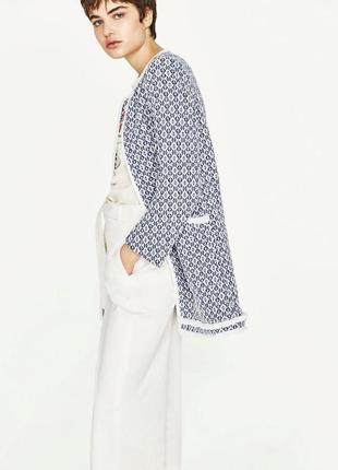 Твидовый удлиненный пиджак/кардиган zara