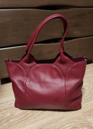 Кожаная красная бордовая сумка с зернистой кожы натуральная кожа made in italy