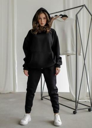 Спортивный костюм 3х нитка на флисе черный с капюшоном худи штаны