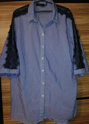 Очень классная удлинённая рубашка с кружевом atmosphere