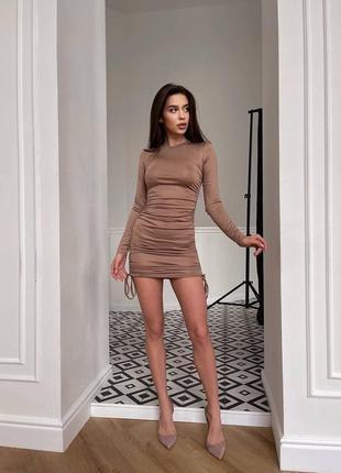 Платье обтягивающее на завязках бежевое