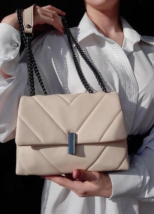 Скидки🔥новая  актуальная молочная стеганая  мягкая вместительная  сумка с цепью 2021