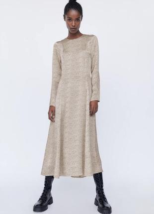 Платье миди вискоза с принтом zara - s, m