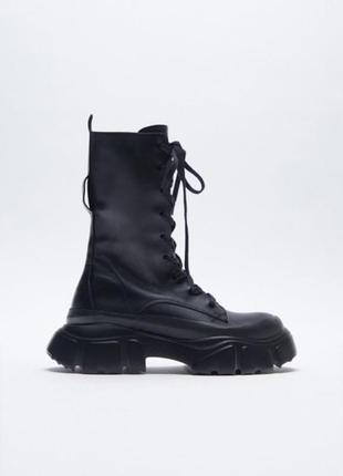 Ботинки на массивной подошве от zara, натуральная кожа