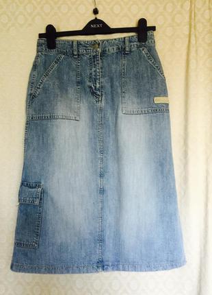 Крутая джинсовая юбка миди