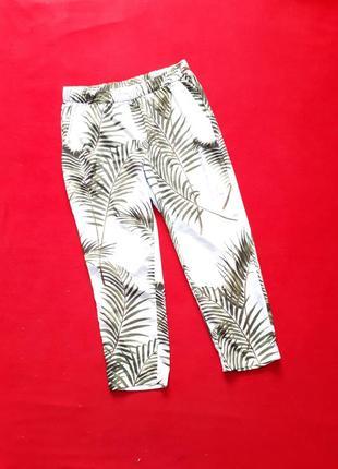 Штаны  свободные зауженные к низу с тропическим принтом р xl +  h&m