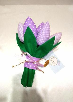 Декоративные тюльпаны, плюшевые цветы, текстильный букет