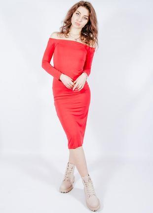 Красное платье миди с открытыми плечами, червона сукня міді з відкритими плечами