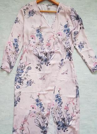 Стильное платье халат, накидка на запах в цветочный принт от h&m.