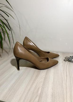 Кожаные туфли нюдовые лодочки бежевые туфлі-лодочки шкіряні