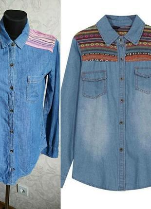 Hollister, трендова джинсова рубашка з вставками в етностилі