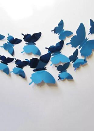 Наклейки бабочки интерьерные 12 шт в наборе синие зеркальные