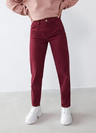 Распродажа!  плотные джинсы baggy высокая посадка джинсы мом mom бордовые штаны