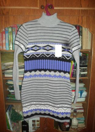 Платье вязанное красивое воротничек под горло приталенное