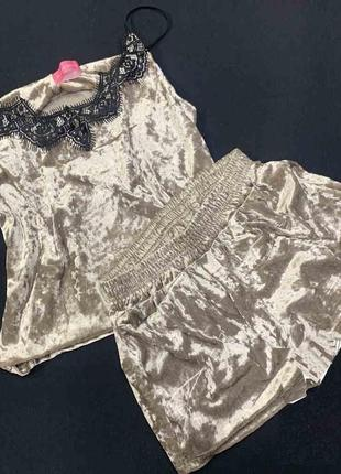 Роскошная пижама из мраморного велюра р-р46 майка+шорты