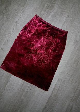 Крутая бархатная,велюровая юбка цвет марсала