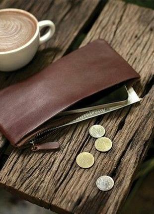Женский кошелек, компактный кошелек, кошелек-чехол на замке, кожаный кошелечек, клатч