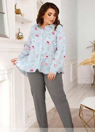 Вишуканий костюм з блузою та брюками + безкоштовна доставка новою поштою