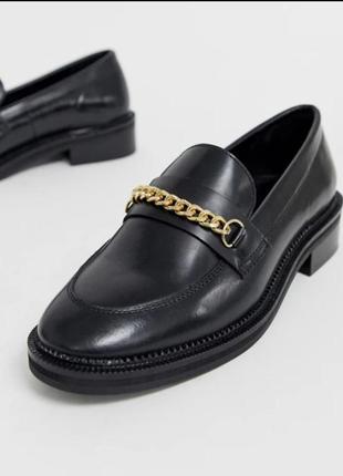 Лоферы  asos туфли ботинки черные кожа 40 р
