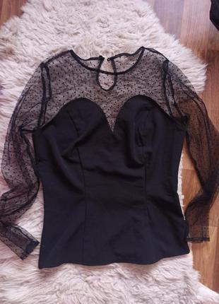 Нарядная блузка черная с прозрачным рукавом с горошек collective vintage размер s