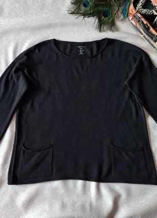 Свитер джемпер тонкий шерстяной лонгслив marc cain черный